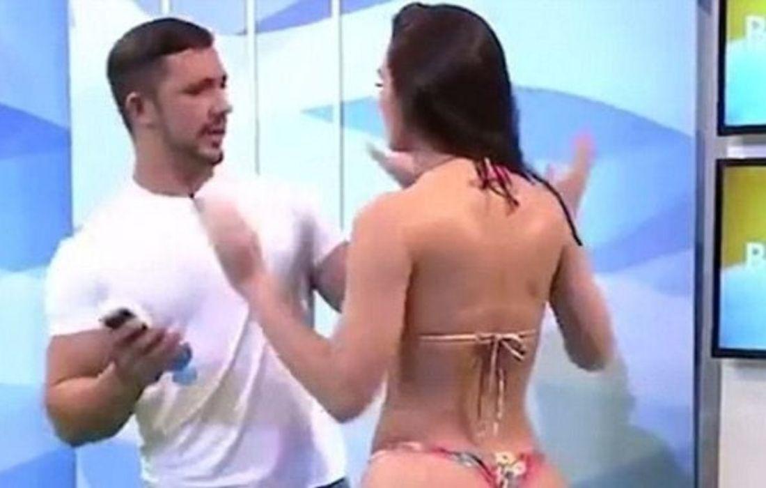 Brazilian Bikini Model Rayssa Teixeiro Melo Punches The Presenter and Storms Out